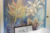 figurative mosaic artwork for a modern bathroom