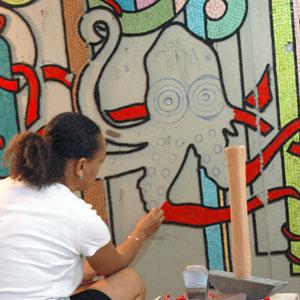 Rachel, mosaic artist in Paris, France
