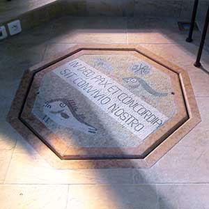 Pax and Concordia, traditional Roman mosaic for a Baptistery